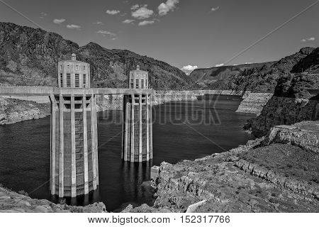 View of Hoover Dam on Colorado River in Arizona Colorado and Nevada