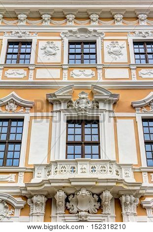 Rebuilt Baroque building in the historic old town of Dresden in Germany