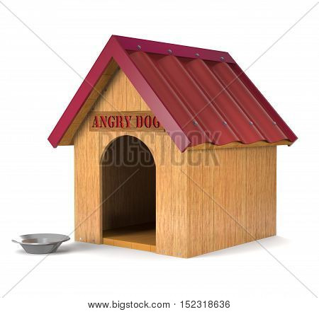 Wooden doghouse and an aluminum plate on a white background (3d rendering).