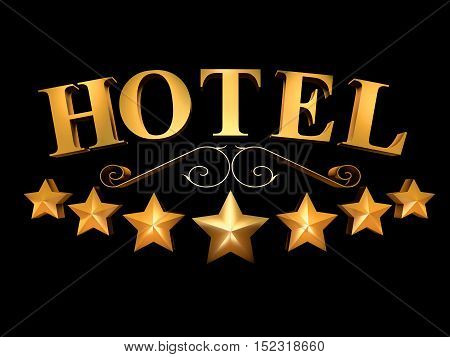Golden sign of the hotel on a black background - 7 stars (3d rendering).