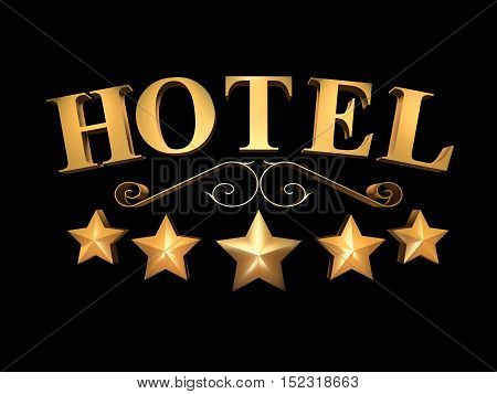 Golden sign of the hotel on a black background - 5 stars (3d rendering).
