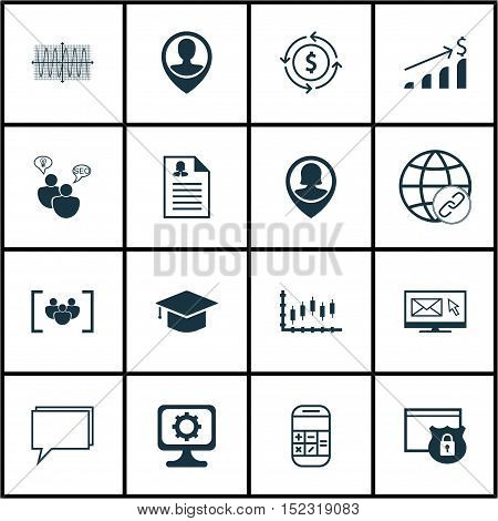 Set Of 16 Universal Editable Icons For Airport, Education And Advertising Topics. Includes Icons Suc