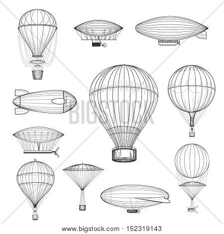 Vintage hot air balloons. Retro hand drawn air balloon set vector illustration