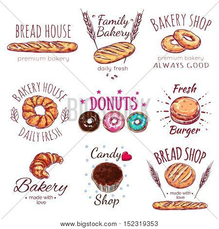 Bread house logo set with bread house premium bakery bread shop descriptions par example vector illustration