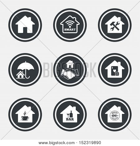 Real estate icons. House insurance, broker and casino with bar signs. Handshake deal, coffee and smart house symbols. Circle flat buttons with icons and border. Vector