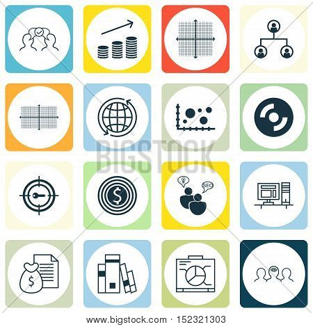 Set Of 16 Universal Editable Icons For Seo, Marketing And Business Management Topics. Includes Icons