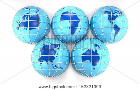 Globes with the image of the Earth's continents are on white background (3d illustration).
