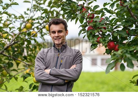Teenage Farmer In The Orchard