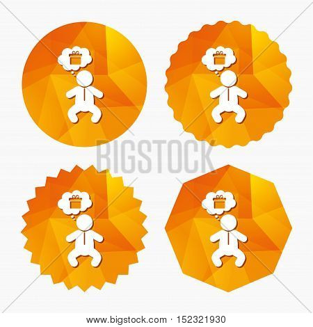 Baby infant think about gift box sign icon. Toddler boy in pajamas or crawlers body symbol. Triangular low poly buttons with flat icon. Vector