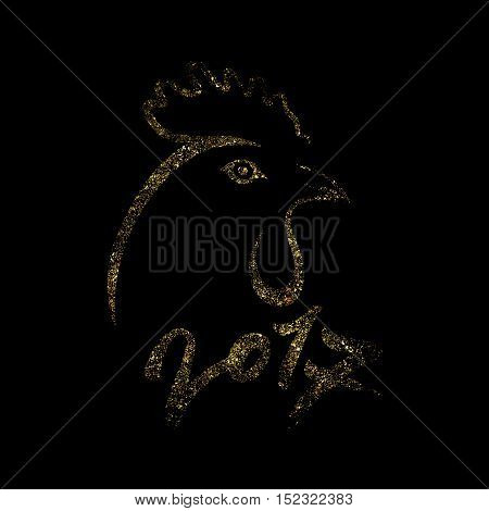 Golden rooster on black background. Cock silhouette with numbers 2017. Black and gold vector illustration.