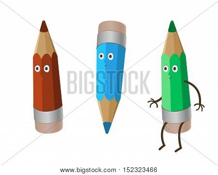 a colored three crazy funny cartoon pencils - red crayon, green and blue. isolated on white and working clipping path