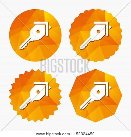 Key from the house sign icon. Unlock tool symbol. Triangular low poly buttons with flat icon. Vector