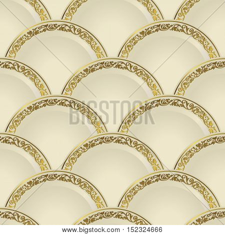 Vintage seamless pattern of white gradient plates with a gold border vector