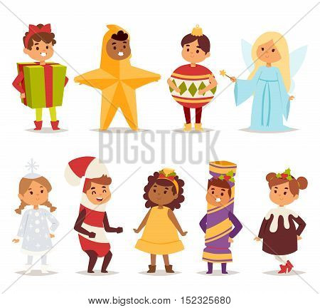 Illustration of cute kids wearing carnival holiday costumes. People happy girl carnival costume kids little young dress. Fun holiday portrait cheerful carnival costume kids vector set.