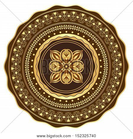 Round gold and brown vintage pattern over white (vector)