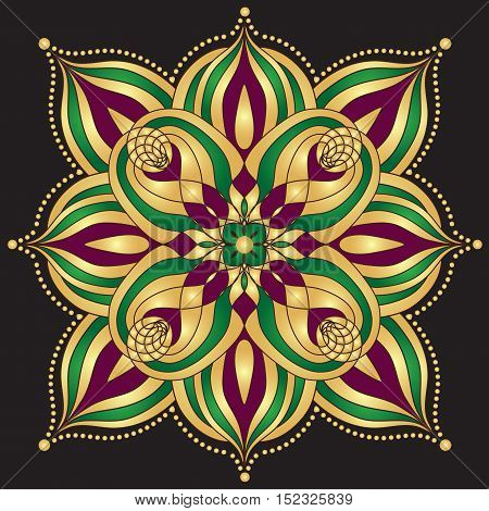 Gold and purple and green vintage pattern over dark vector