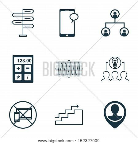 Set Of 9 Universal Editable Icons For Airport, Business Management And Statistics Topics. Includes I