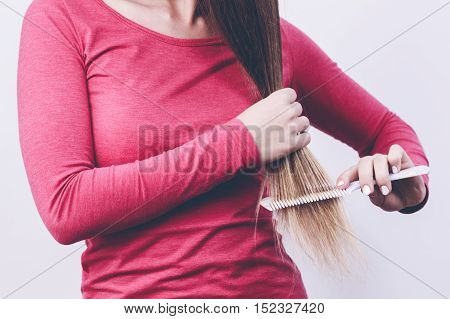 Woman Brush Long Hair.