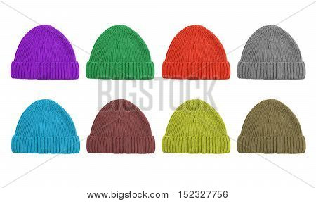 A set of eight color woolen caps isolated on white background