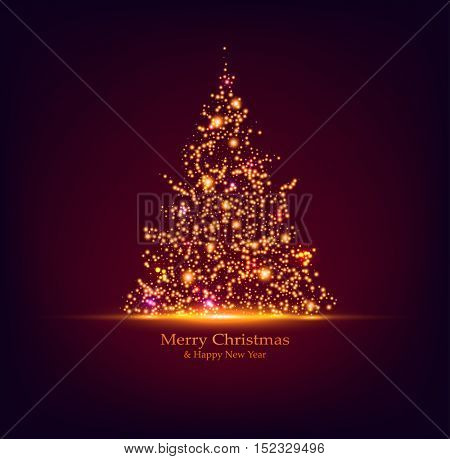 Vector Christmas tree. Holiday card design. Bokeh lights.
