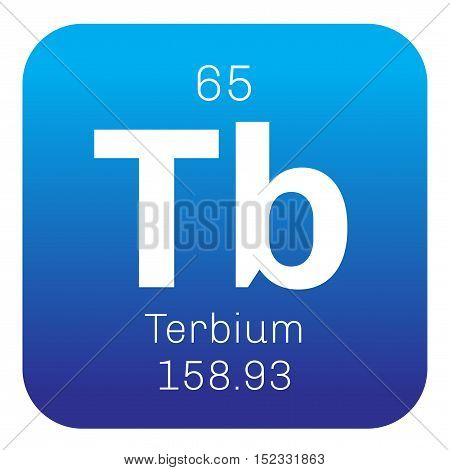 Terbium chemical element. Colored icon with atomic number and atomic weight. Chemical element of periodic table.