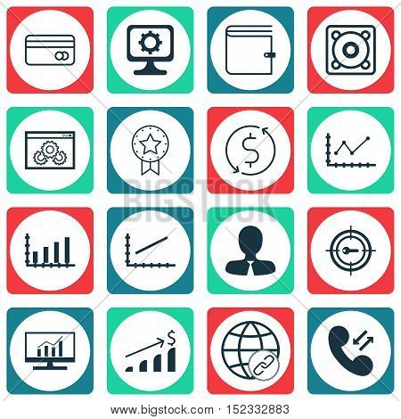 Set Of 16 Universal Editable Icons For Statistics, Advertising And Marketing Topics. Includes Icons