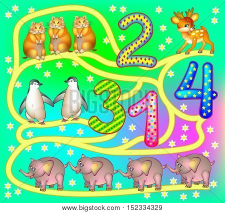 Exercises for young children - need to count the animals and draw the way till the relevant numbers. Develops skills for counting. Vector cartoon image.