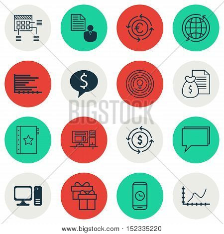 Set Of 16 Universal Editable Icons For Human Resources, Travel And Seo Topics. Includes Icons Such A