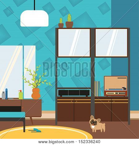 Vector living room interior with cupboard pier-glass and player in the style of 70's.
