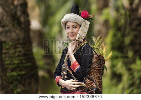 tribe in beautiful costume dress beautiful tribe girl.