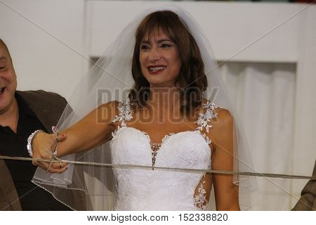 Bologna, Italy - October 15, 2016: Former member of Italian parliament, transgender actress and political activist Vladimir Luxuria at the opening ceremony of the second Gay Wedding Expo which was held at the fair of Bologna.