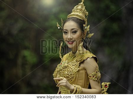 Beautiful Thai girl in Thai traditional costume.in Thailand.