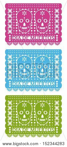 Day Of The Dead Cut Out Paper Set three colors