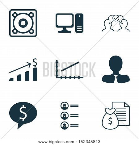 Set Of 9 Universal Editable Icons For Project Management, Statistics And Computer Hardware Topics. I