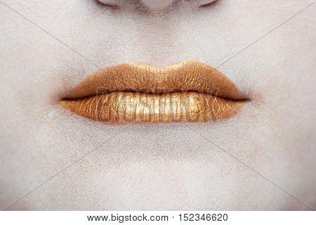 Macro Of Gold Lips