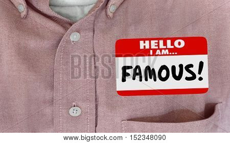 Famous Celebrity Hello Name Tag VIP Fame 3d Illustration