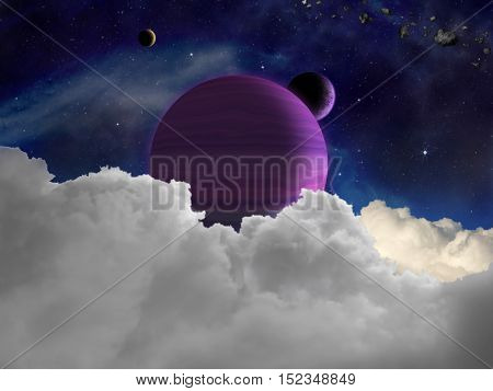 Fantasy alien space scene with alien planets and moons.