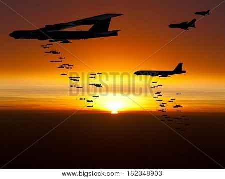 Vietnam War Era B-52 bomber at sunset. (Artist's impression)
