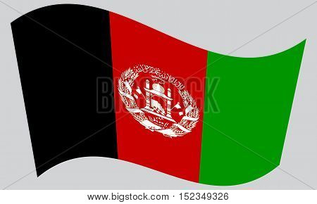 Afghan national official flag. Patriotic symbol banner element background. Correct colors. Flag of Afghanistan waving on gray background vector