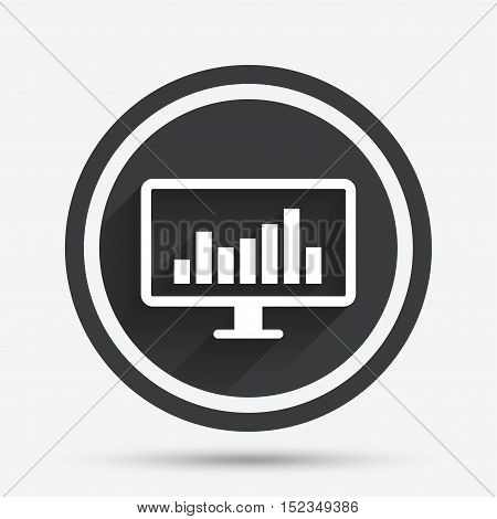 Computer monitor sign icon. Market monitoring. Circle flat button with shadow and border. Vector