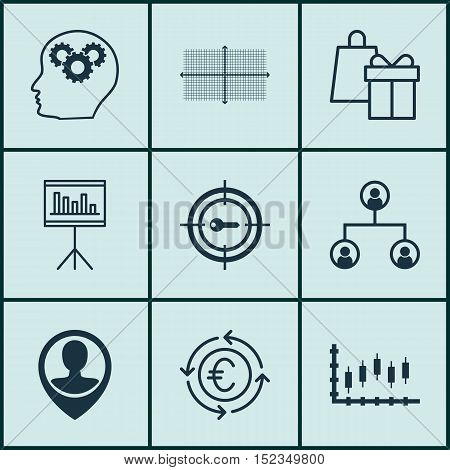 Set Of 9 Universal Editable Icons For Project Management, Travel And Seo Topics. Includes Icons Such