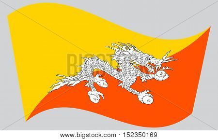 Bhutanese national official flag. Patriotic symbol banner element background. Correct colors. Flag of Bhutan waving on gray background vector