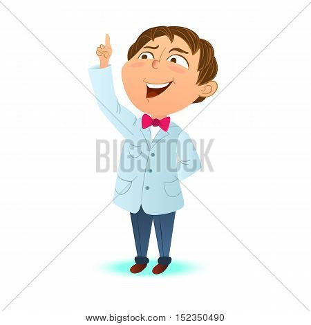 Cute clever kid a boy scientist index finger up. Clever boy got the idea. Cartoon character mascot.