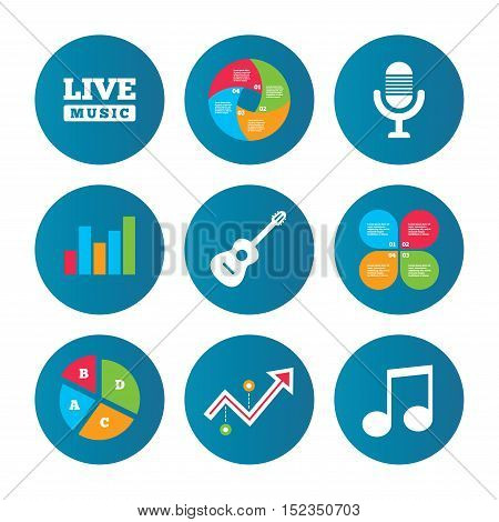 Business pie chart. Growth curve. Presentation buttons. Musical elements icons. Microphone and Live music symbols. Music note and acoustic guitar signs. Data analysis. Vector