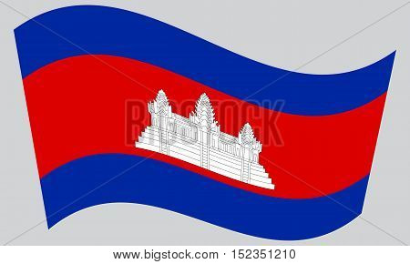 Cambodian national official flag. Patriotic symbol banner element background. Correct colors. Flag of Cambodia waving on gray background vector