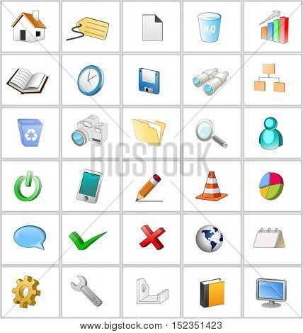 An illustration of general 3d icon set.