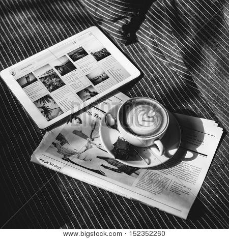Coffee Americano Espresso Newspaper Couch Brownie Digital Tablet Concept