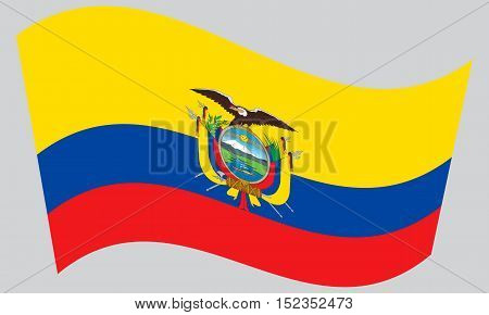 Ecuadorian national official flag. Patriotic symbol banner element background. Correct colors. Flag of Ecuador waving on gray background vector