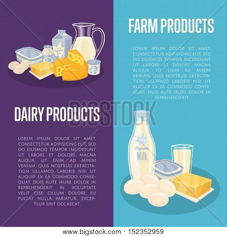 Dairy products vertical flyers with different milk composition isolated on color background, vector illustrations. Nutritious and healthy products. Organic farmers food. Organic food and dairy product concept. Milk product icon. Cartoon dairy product. Dai