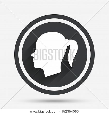 Head sign icon. Female woman human head with pigtail symbol. Circle flat button with shadow and border. Vector